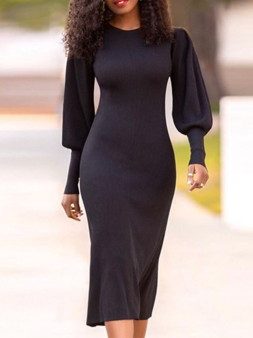 Long Sleeve Mid-Calf Round Neck Bodycon Women's Dress