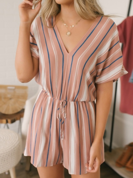 Casual Shorts Stripe Loose Women's Rompers