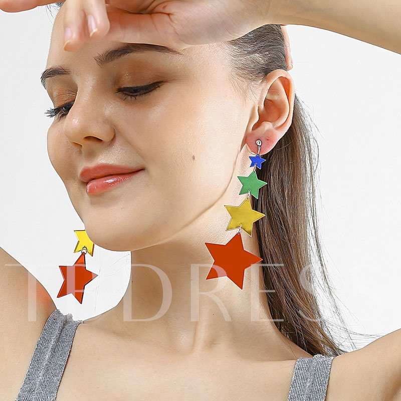 Color Block Acrylic E-Plating Party Earrings