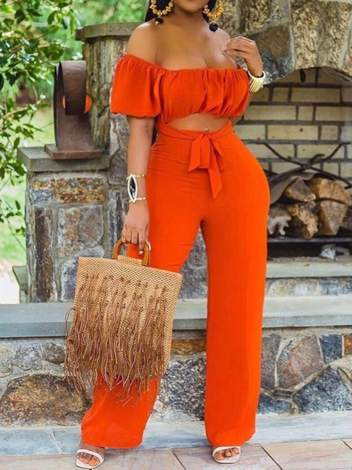 Lace-Up Simple Full Length Plain Straight Women's Jumpsuit