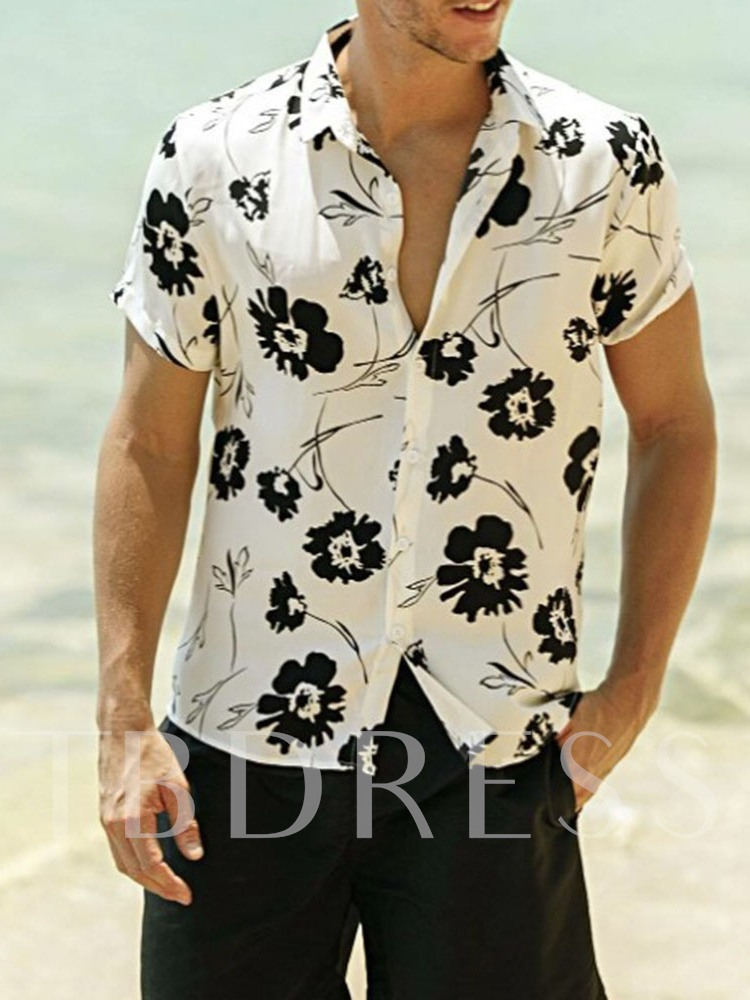 Lapel Floral Loose Men's Shirt