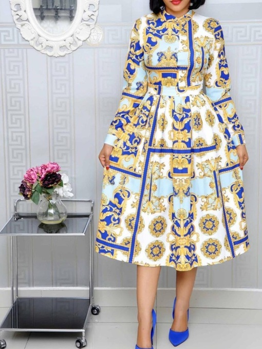 Long Sleeve Print Mid-Calf Stand Collar Geometric Women's Dress