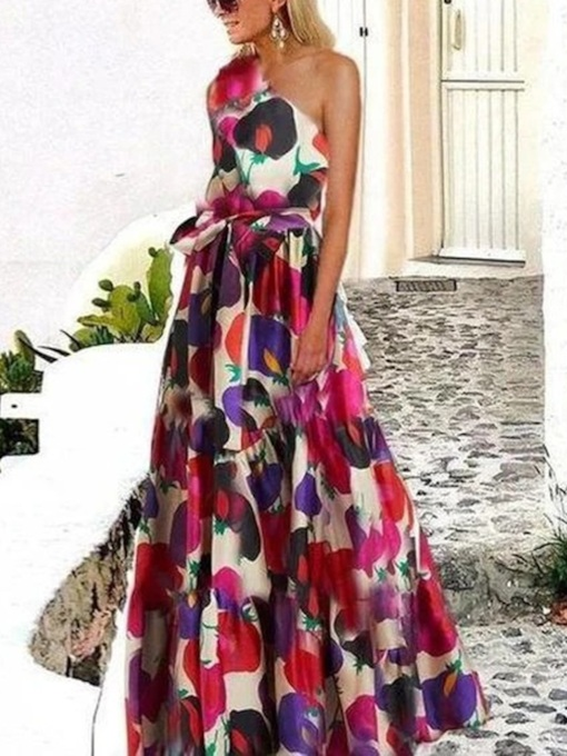 Floor-Length Sleeveless Print Oblique Collar Floral Women's Dress