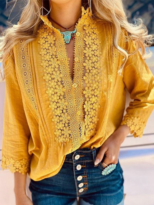 Lapel Appliques Buttons Long Sleeve Women's Blouse