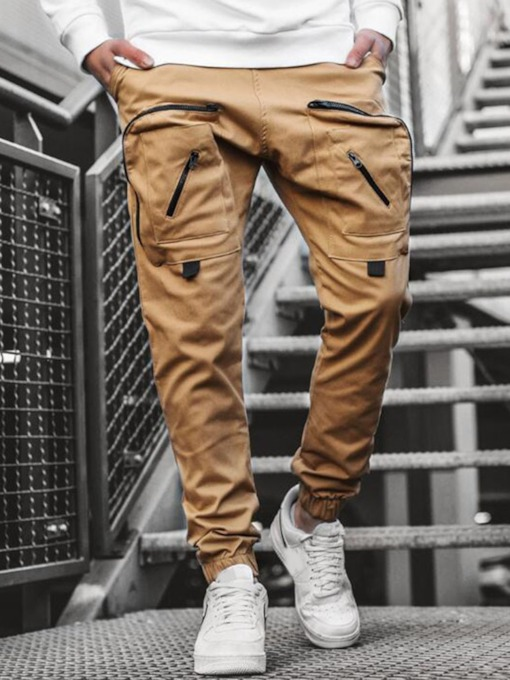 Pocket Plain Mid Waist Men's Casual Pants
