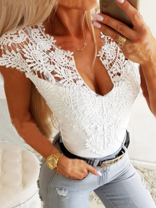 Round Neck Plain Lace Short Sleeve Women's Blouse