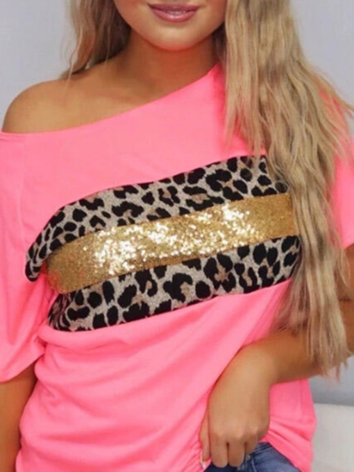 Short Sleeve Mid-Length Leopard Round Neck Casual Women's T-Shirt