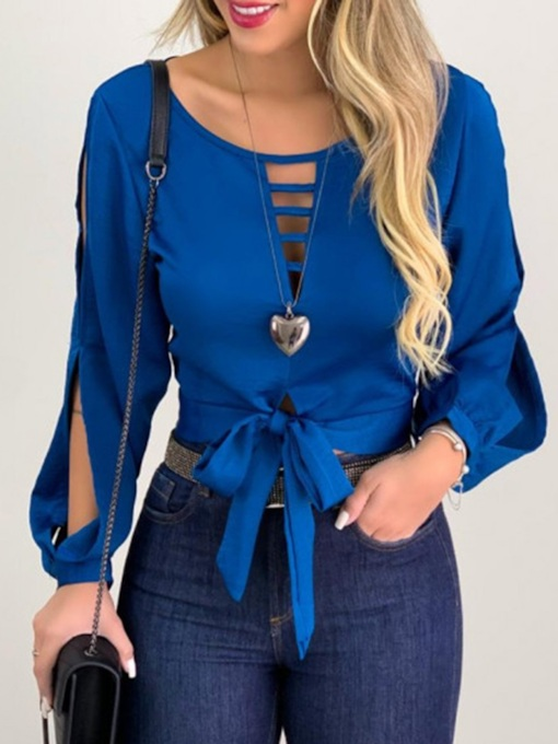Lantern Sleeve Lace-Up Plain Round Neck Hollow Women's Blouse