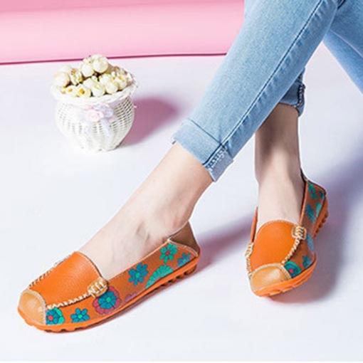 Slip-On Square Toe Block Heel Print Casual Thin Shoes
