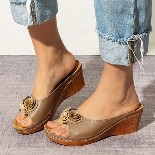 Flip Flop Wedge Heel Appliques Slip-On Casual Slippers