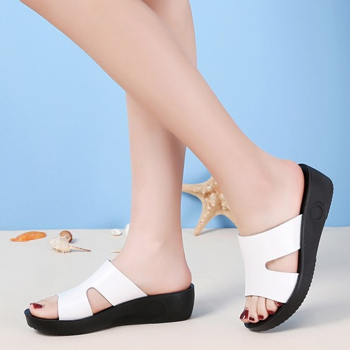 Slip-On Flip Flop Wedge Heel Platform PU Slippers
