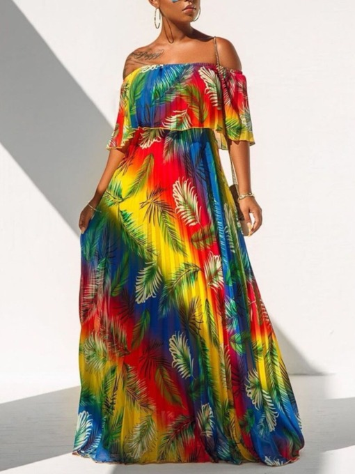 Off Shoulder Floor-Length Print Half Sleeve Gradient Women's Dress