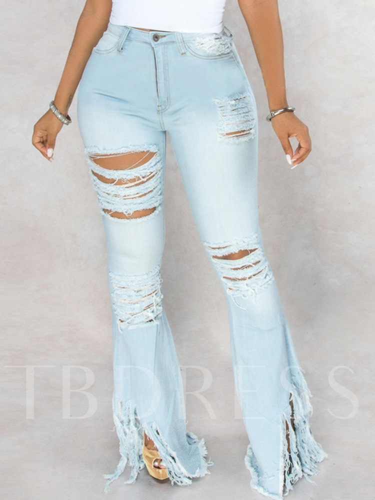 Bellbottoms Gradient Hole Mid Taille Damenjeans
