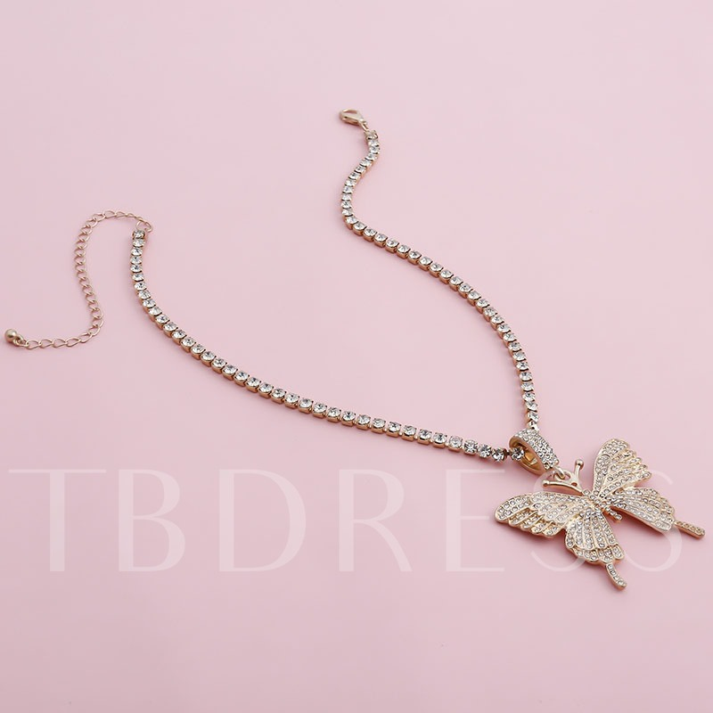 Alloy Sweet Pendant Necklace Diamante Female Necklaces