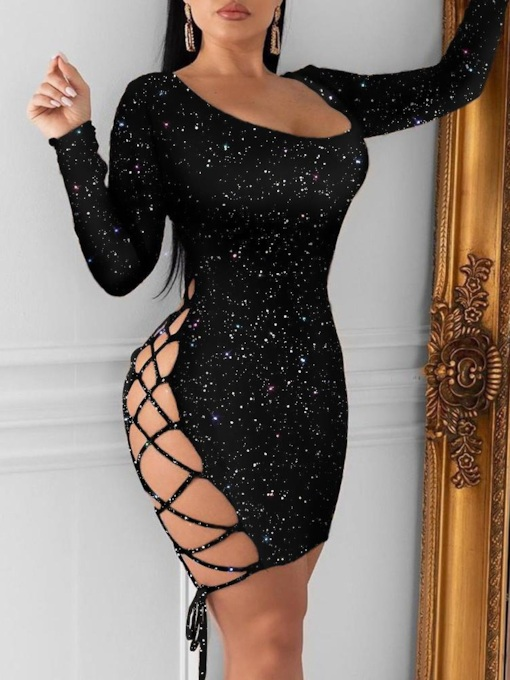 Long Sleeve Above Knee Scoop Sequins Plain Women's Dress