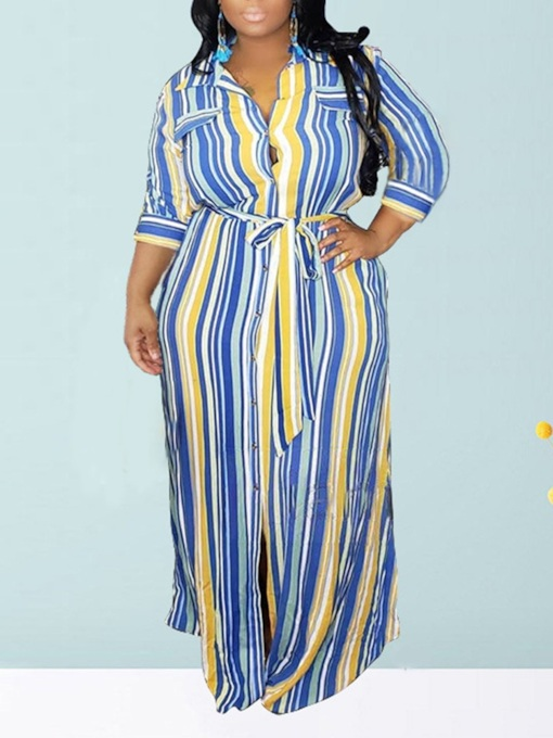 Plus Size Floor-Length Three-Quarter Sleeve Lapel Lace-Up Single-Breasted Women's Dress