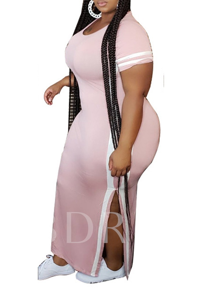 Plus Size Split Short Sleeve Ankle-Length Round Neck Stripe Women's Dress