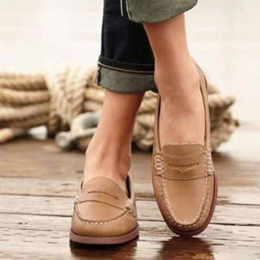 Casual Flat With Thread Slip-On Round Toe Low-Cut Upper Thin Shoes