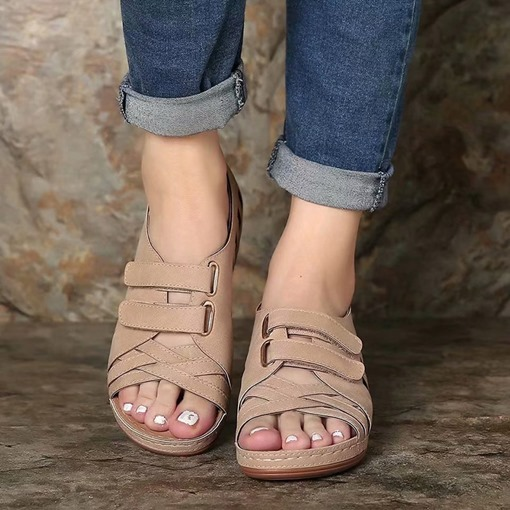 Wedge Heel Velcro Open Toe Plain Sandals