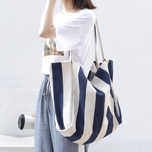 Canvas Print Stripe Rectangle Shoulder Bags