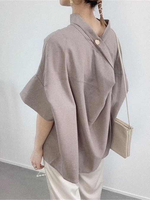 Stand Collar Button Plain Mid-Length Women's Blouse