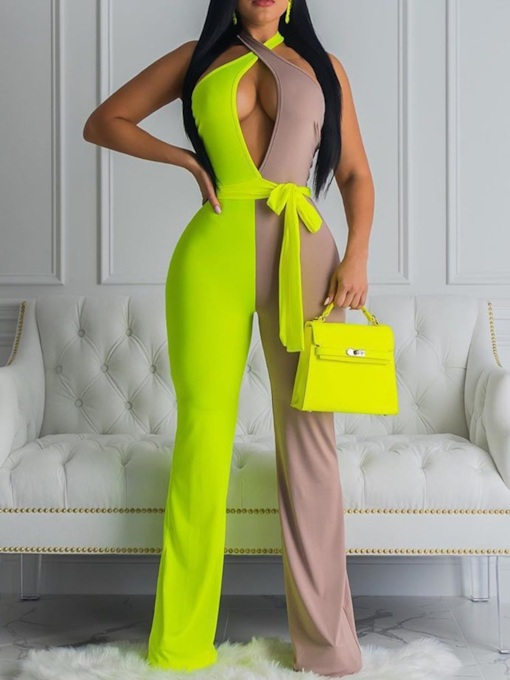 Color Block Sexy Lace-Up Full Length Slim Women's Jumpsuit