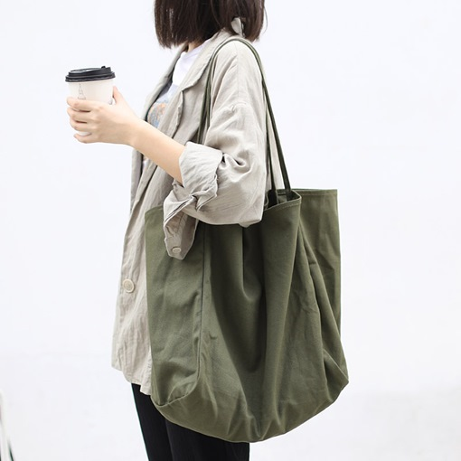 Thread Plain Canvas Rectangle Shoulder Bags