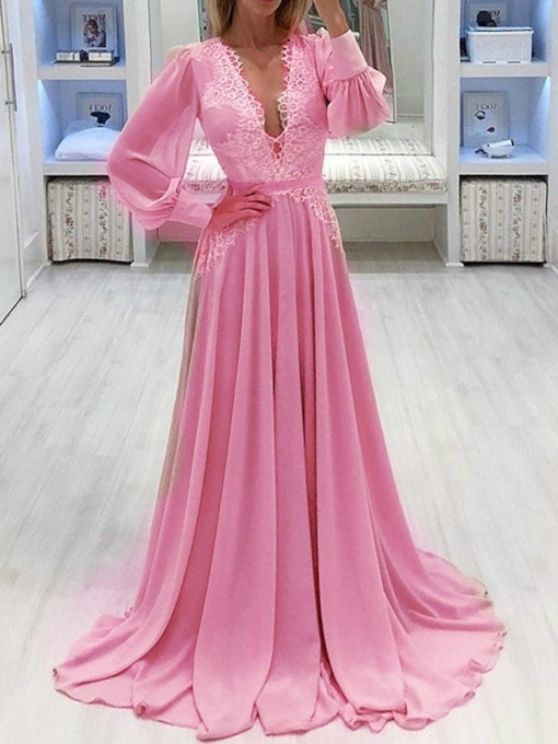 Floor-Length Lace V-Neck Long Sleeve Lantern Sleeve Women's Dress