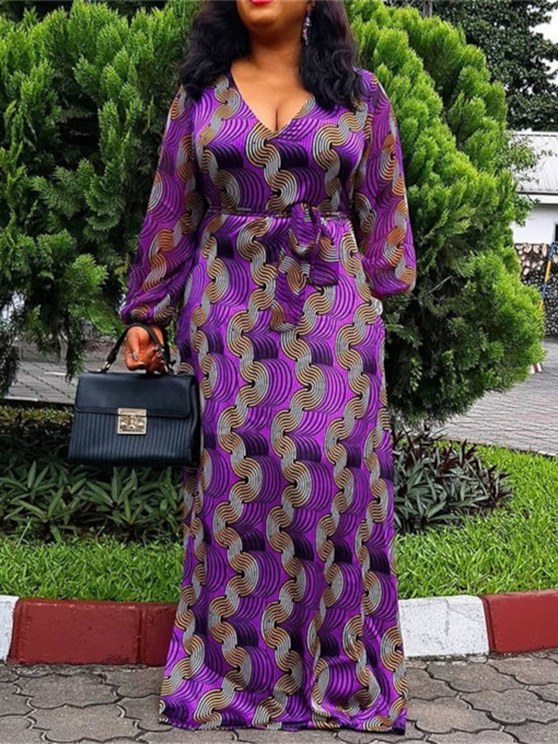Floor-Length V-Neck Long Sleeve Print Western Women's Dress