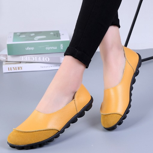 Thread Slip-On Round Toe Flat With Low-Cut Upper Thin Shoes