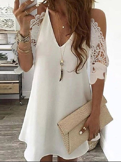 V-Neck Floral Lace Long Women's Blouse