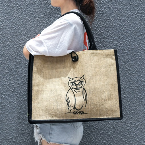 Cartoon Linen Print Rectangle Tote Bags