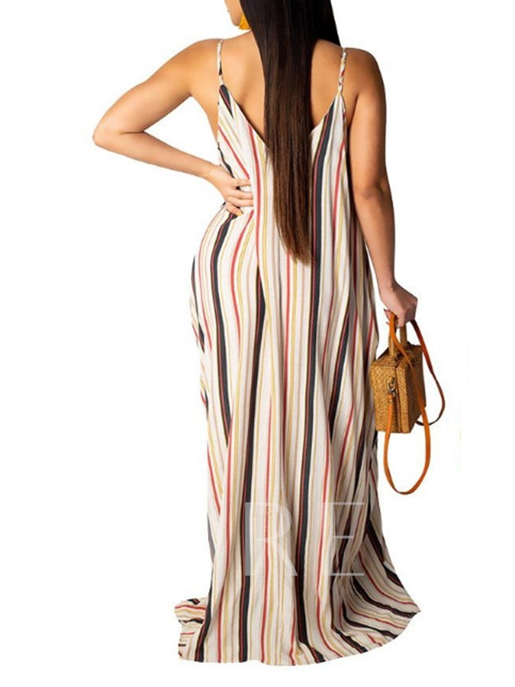 V-Neck Print Sleeveless Floor-Length Mid Waist Women's Dress