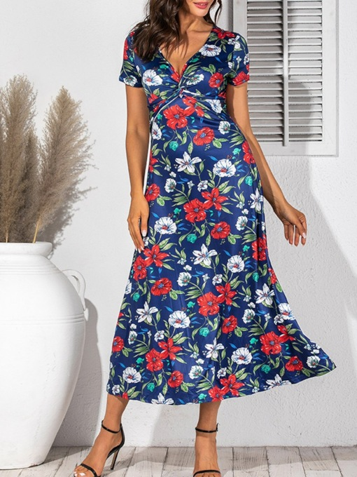 V-Neck Print Short Sleeve Mid-Calf A-Line Women's Dress