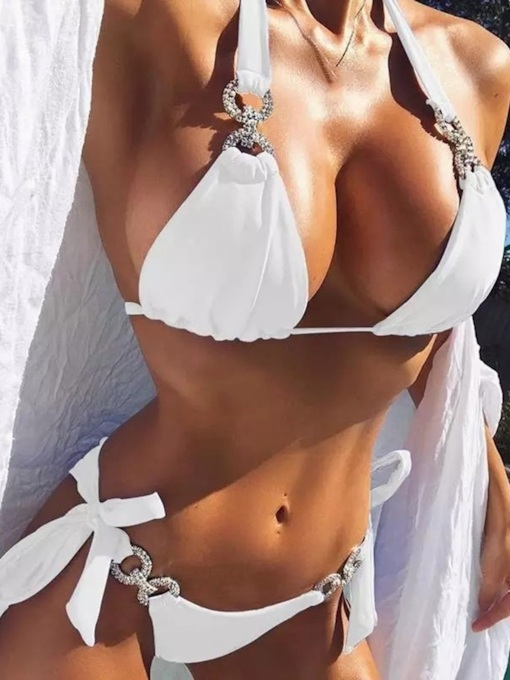 Sexy Plain Bikini Set Female's Swimwear