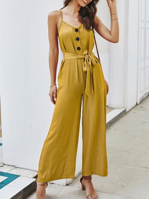 Button Travel Look Plain Full Length Straight Women's Jumpsuit