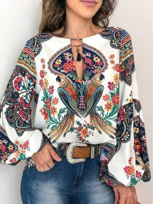 Lantern Sleeve Floral Round Neck Print Long Sleeve Women's Blouse
