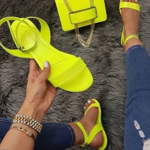 Round Toe Ankle Strap Flat With Buckle Low-Cut Upper Sandals