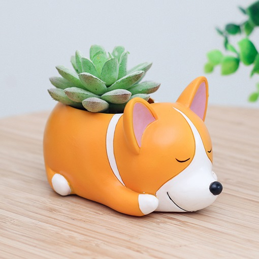 Cute Animal Succulent Planter Pots with Drainage Resin Garden Plants Vase Desk Flower Decoration