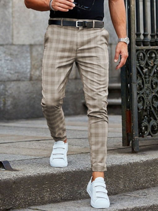 Pencil Pants Plaid Zipper Men's Casual Pants