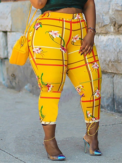 Plus Size Print Skinny Floral Ankle Length Women's Casual Pants