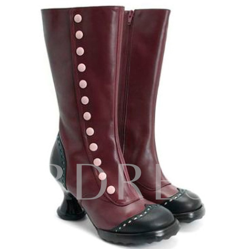 Side Zipper Round Toe Shaped Heel Patchwork Rivet Boots