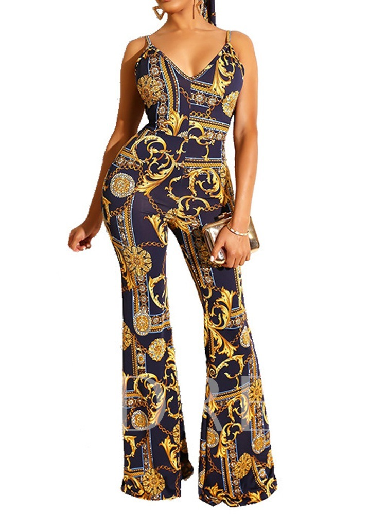 Full Length Western Backless Bellbottoms Women's Jumpsuit