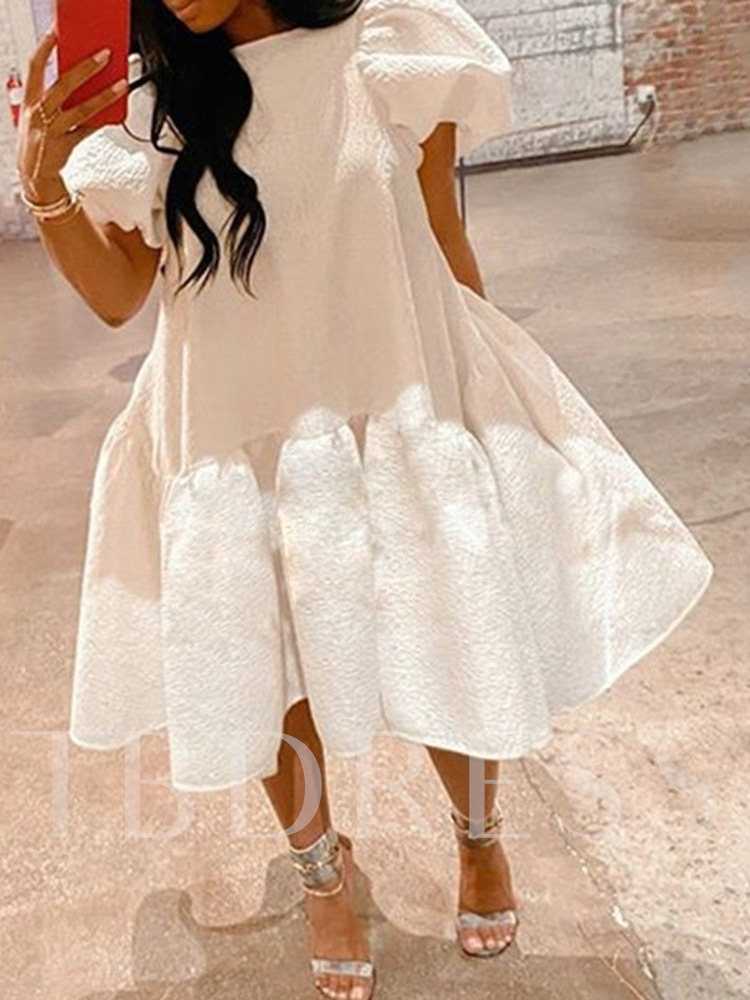 Pleated Mid-Calf Short Sleeve Round Neck High Waist Sweet Party/Cocktail Women's Dress