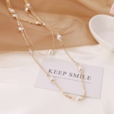 Chain Necklace Pearl Inlaid Sweet Female Necklaces