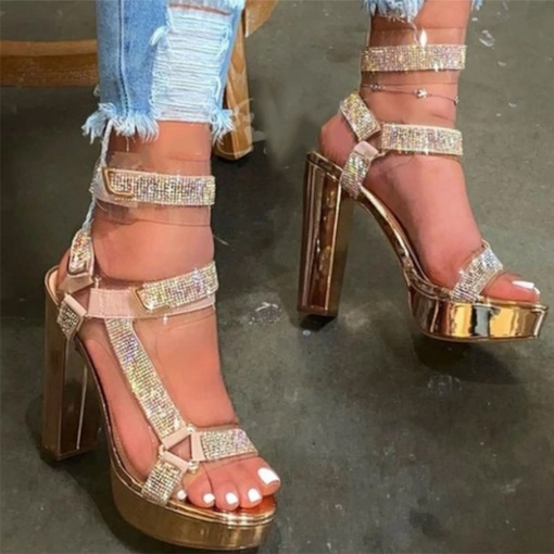 Ankle Strap Chunky Heel Buckle Peep Toe Color Block Sandals