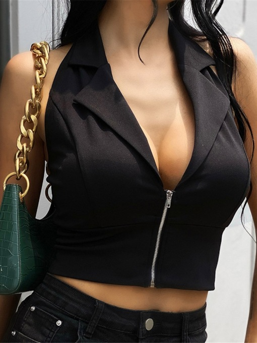 Zipper Halter Polyester Short Women's Tank Top