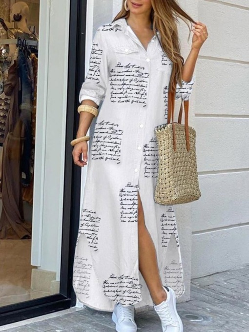 Print Lapel Floor-Length Long Sleeve Letter Women's Dress