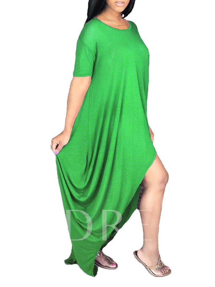 Asymmetric Short Sleeve Round Neck Floor-Length High Waist Women's Dress