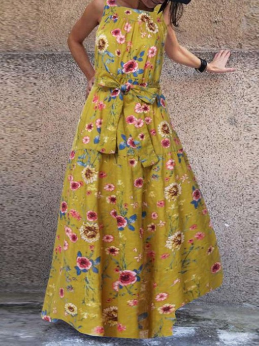 Floor-Length Square Neck Sleeveless Print Summer Women's Dress